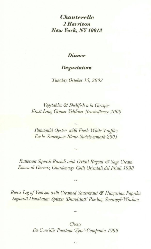 Chantarelle menu