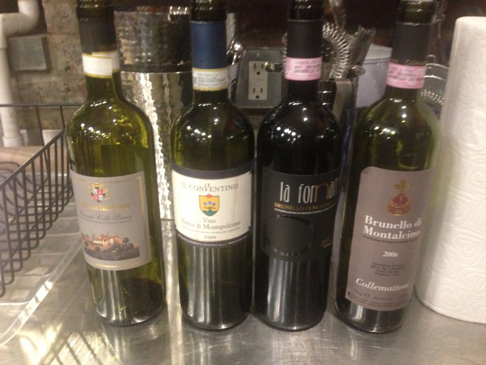 wines line up for the Sangiovese Class