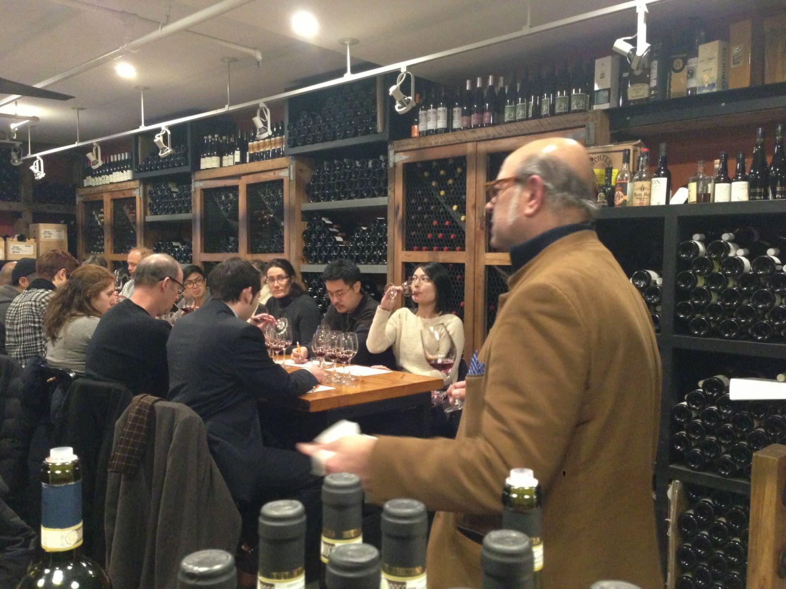 group tasting wine