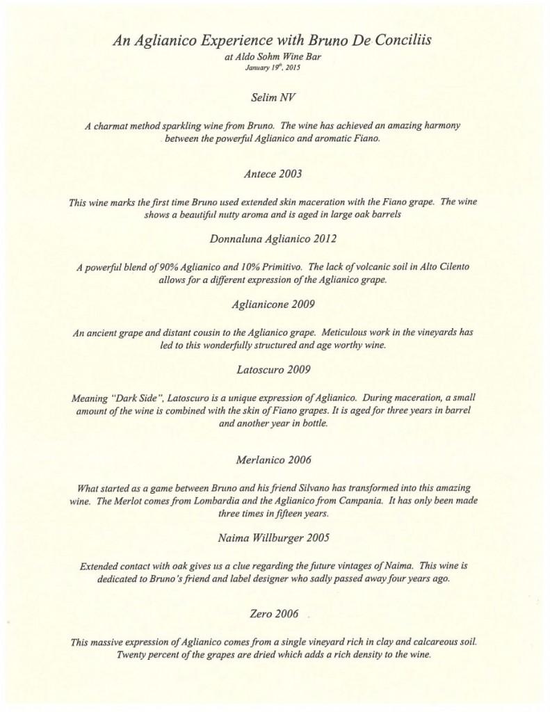 an aglianico experience with bruno de conciliis