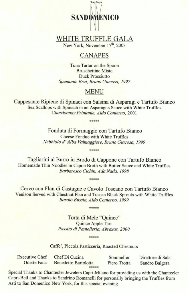 San Domenico menu