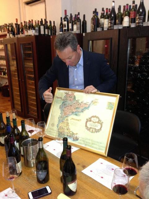 man showing map
